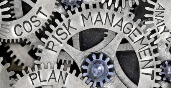 Machinery cogs showing the words Risk Management