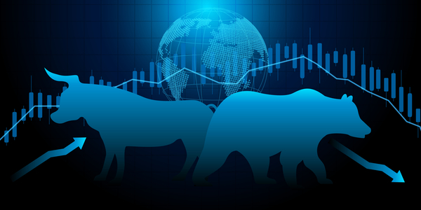 Bull and Bear cryptocurrency technical analysis concept