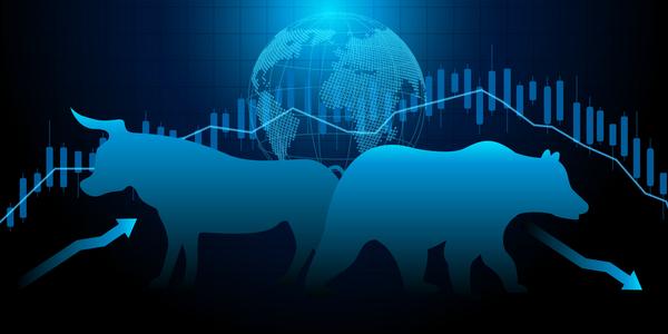 Bull and Bear technical analysis concept