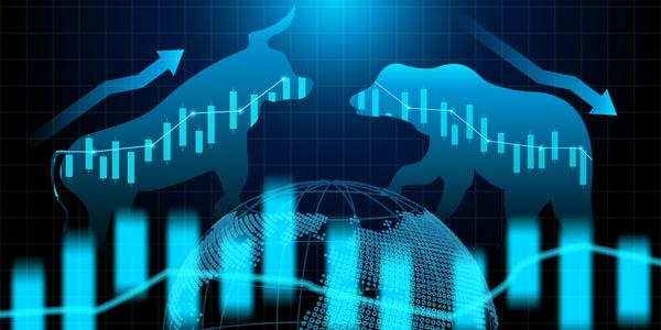 Bull and Bear Bitcoin technical analysis concept